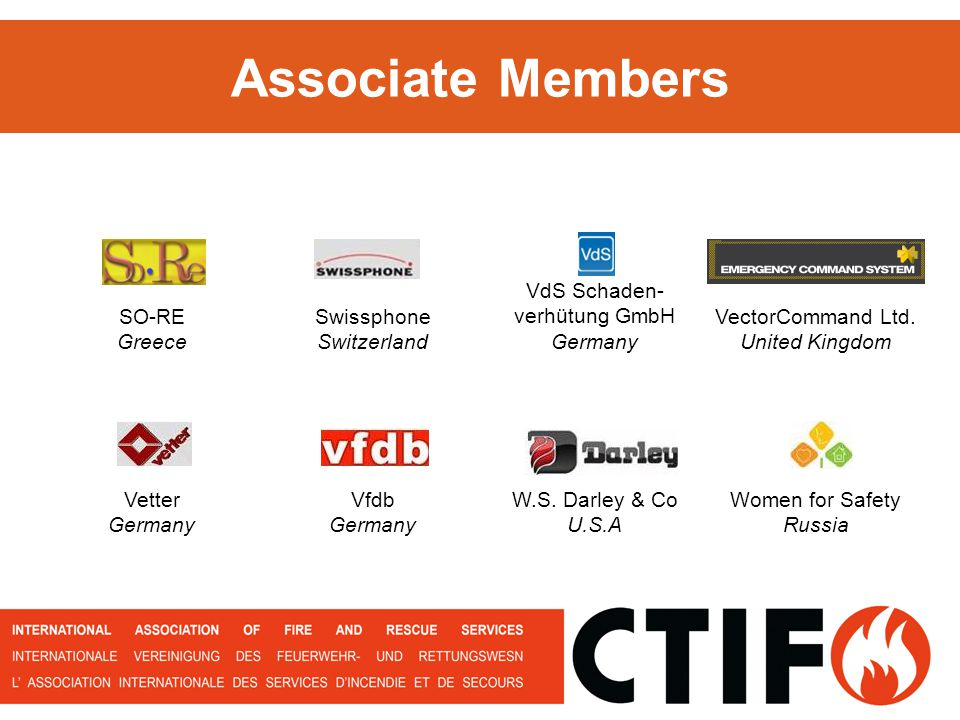 Associate Members SO-RE Greece Swissphone Switzerland VdS Schaden- verhütung GmbH Germany VectorCommand Ltd. United Kingdom Vetter Germany Vfdb German