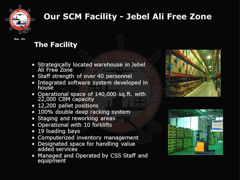 The Facility Strategically located warehouse in Jebel Ali Free Zone Staff strength of over 40 personnel Integrated software system developed in house Operational space of 140,000 sq.ft.