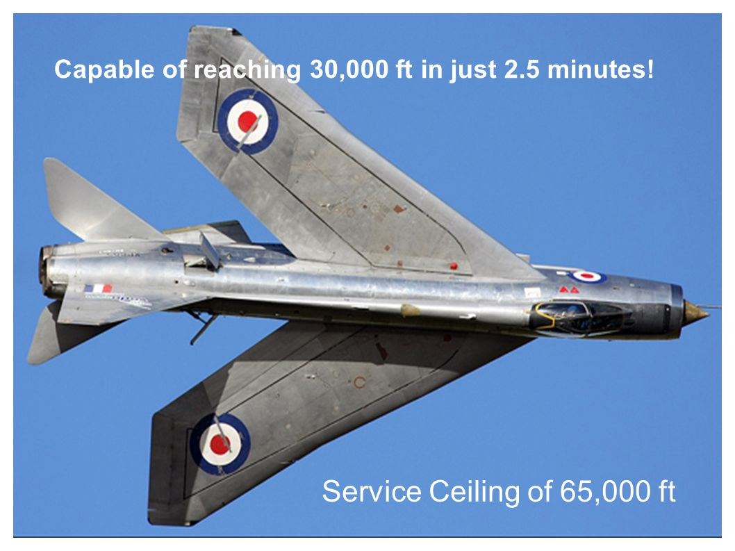 Capable of reaching 30,000 ft in just 2.5 minutes! Service Ceiling of 65,000 ft