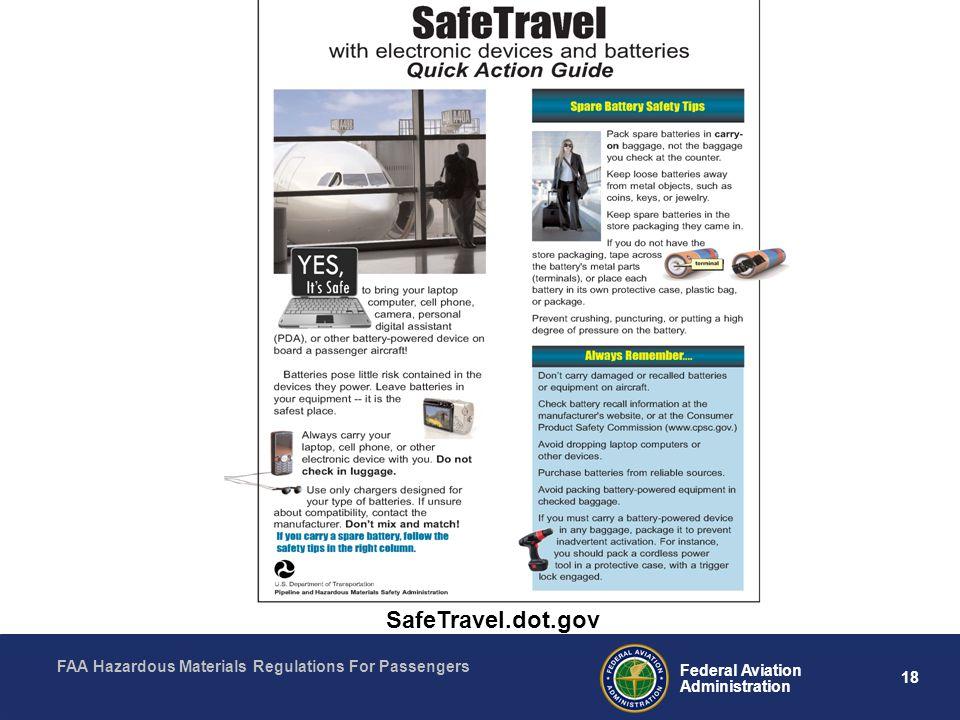 FAA Hazardous Materials Regulations For Passengers 18 Federal Aviation Administration SafeTravel.dot.gov