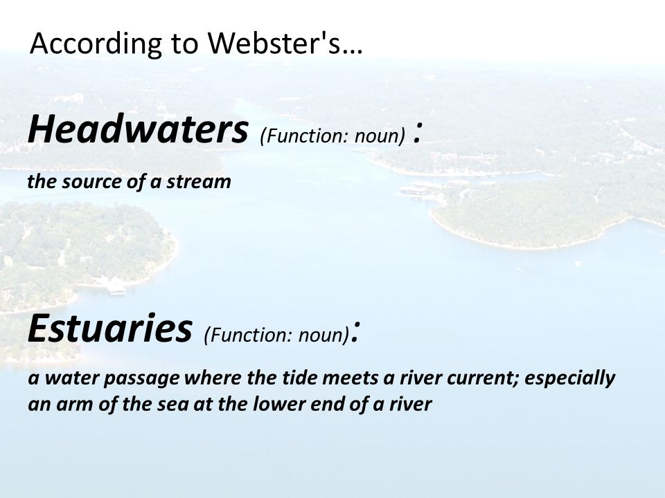 Headwaters (Function: noun) : the source of a stream Estuaries (Function: noun) : According to Webster s… a water passage where the tide meets a river current; especially an arm of the sea at the lower end of a river