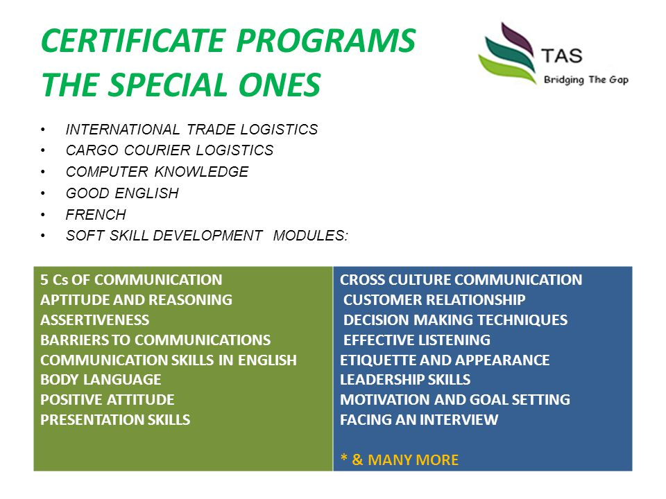 CERTIFICATE PROGRAMS THE SPECIAL ONES INTERNATIONAL TRADE LOGISTICS CARGO COURIER LOGISTICS COMPUTER KNOWLEDGE GOOD ENGLISH FRENCH SOFT SKILL DEVELOPM