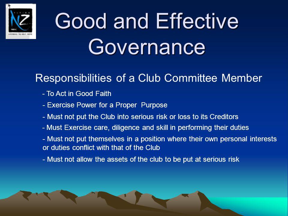 Good and Effective Governance