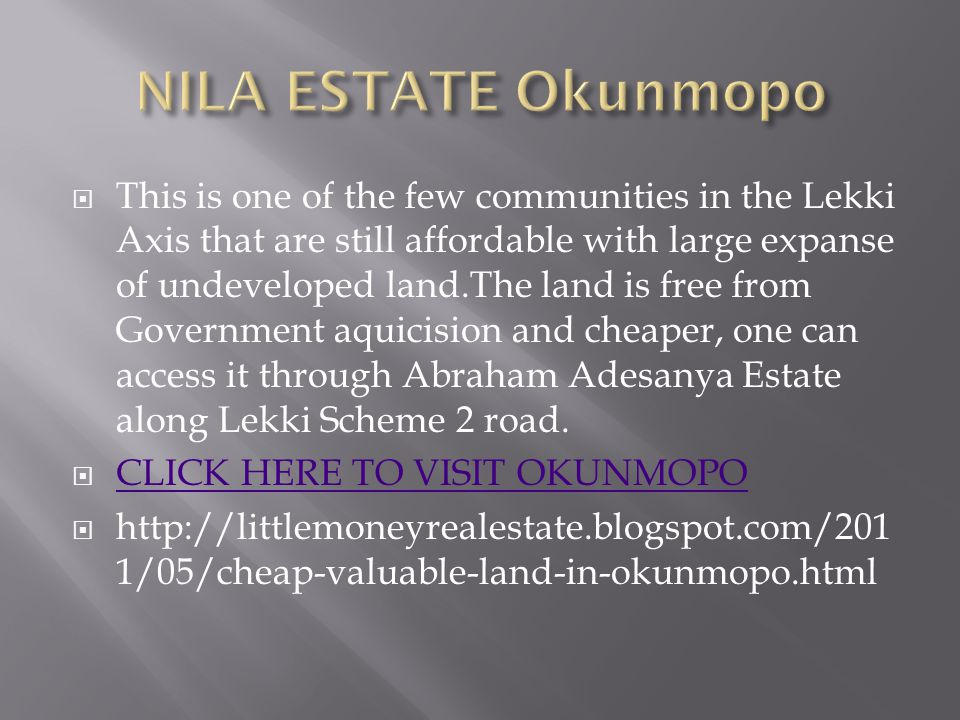 This is one of the few communities in the Lekki Axis that are still affordable with large expanse of undeveloped land.The land is free from Government