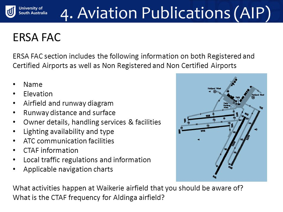 4. Aviation Publications (AIP) ERSA FAC section includes the following information on both Registered and Certified Airports as well as Non Registered