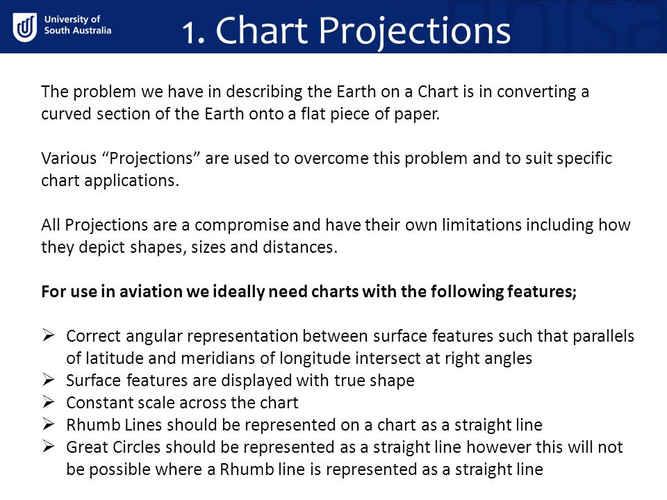 1. Chart Projections The problem we have in describing the Earth on a Chart is in converting a curved section of the Earth onto a flat piece of paper.
