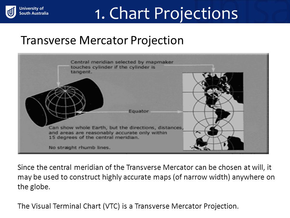 1. Chart Projections Projections Since the central meridian of the Transverse Mercator can be chosen at will, it may be used to construct highly accur