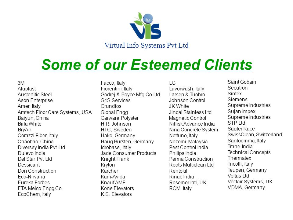 Virtual Info Systems Pvt Ltd Some of our Esteemed Clients 3M Aluplast Austenitic Steel Ason Enterprise Amer, Italy Amtech Floor Care Systems, USA Baiyun, China Birla White BryAir Corazzi Fiber, Italy Chaobao, China Diversey India Pvt Ltd Dulevo India Del Star Pvt Ltd Dessicant Don Construction Eco-Nirvana Eureka Forbes ETA Melco Engg Co.