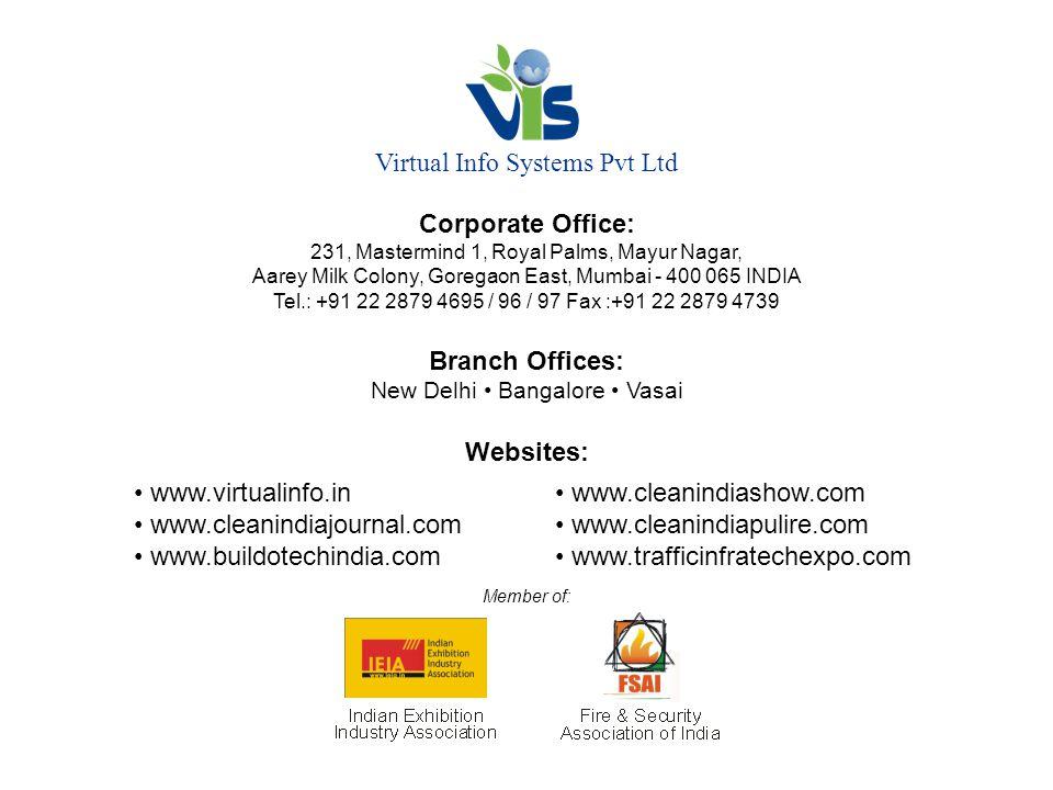 Virtual Info Systems Pvt Ltd Corporate Office: 231, Mastermind 1, Royal Palms, Mayur Nagar, Aarey Milk Colony, Goregaon East, Mumbai - 400 065 INDIA Tel.: +91 22 2879 4695 / 96 / 97 Fax :+91 22 2879 4739 Branch Offices: New Delhi Bangalore Vasai Websites: www.virtualinfo.in www.cleanindiashow.com www.cleanindiajournal.com www.cleanindiapulire.com www.buildotechindia.com www.trafficinfratechexpo.com Member of: