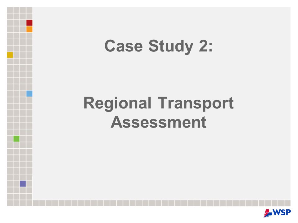 Case Study 2: Regional Transport Assessment