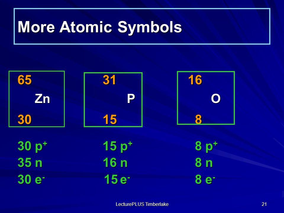 LecturePLUS Timberlake 21 More Atomic Symbols 163165 O P Zn O P Zn 81530 81530 8 p + 15 p + 30 p + 8 n16 n35 n 8 e - 15 e - 30 e -