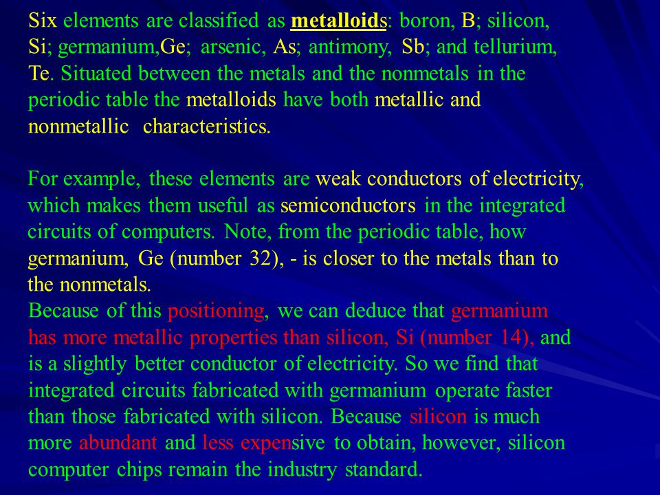 Six elements are classified as metalloids: boron, B; silicon, Si; germanium,­Ge; arsenic, As; antimony, Sb; and tellurium, Te.