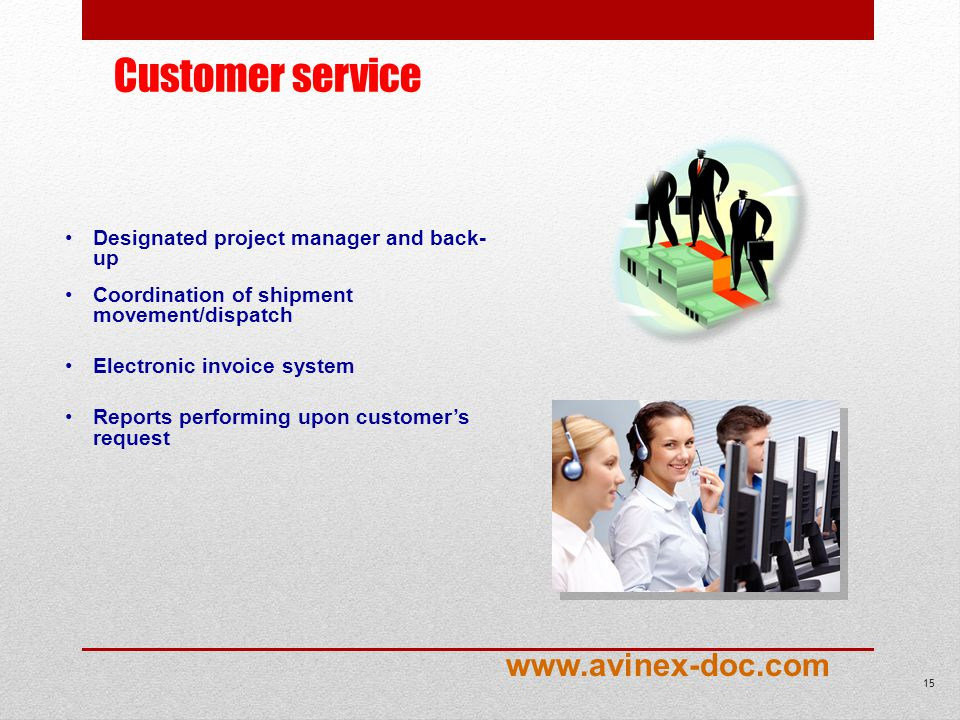 Designated project manager and back- up Coordination of shipment movement/dispatch Electronic invoice system Reports performing upon customers request Customer service 15 www.avinex-doc.com