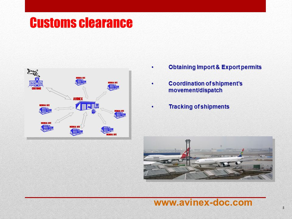 8 Obtaining Import & Export permitsObtaining Import & Export permits Coordination of shipments movement/dispatchCoordination of shipments movement/dispatch Tracking of shipmentsTracking of shipments Customs clearance www.avinex-doc.com