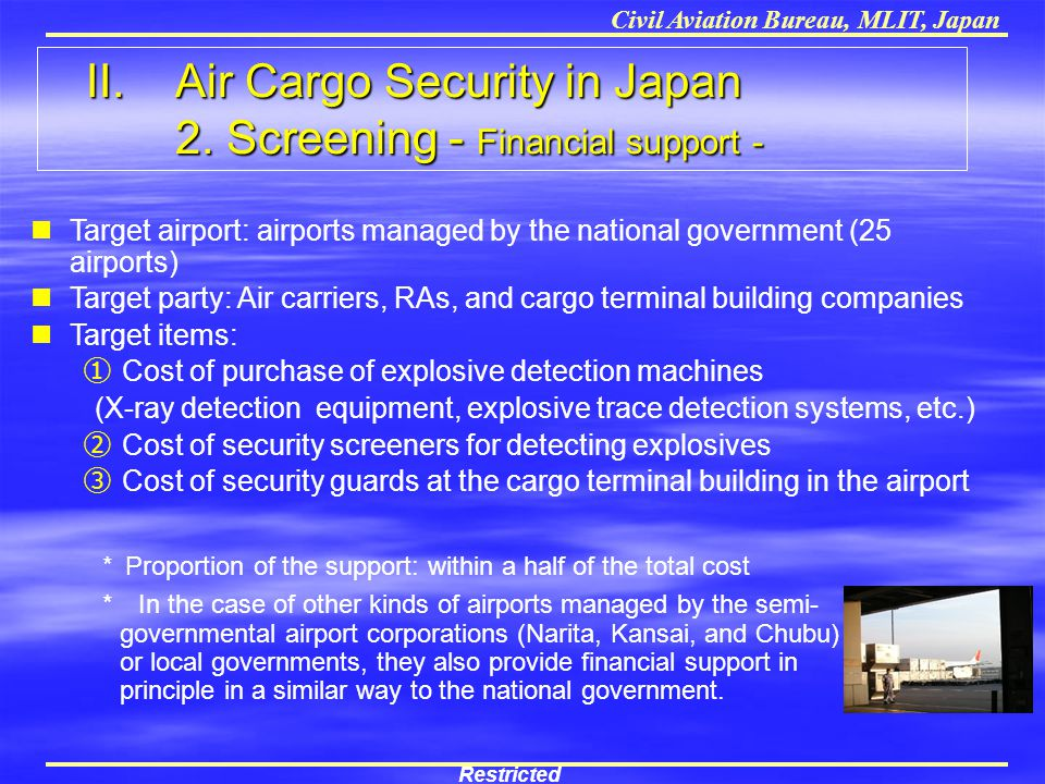 Civil Aviation Bureau, MLIT, Japan Target airport: airports managed by the national government (25 airports) Target party: Air carriers, RAs, and carg