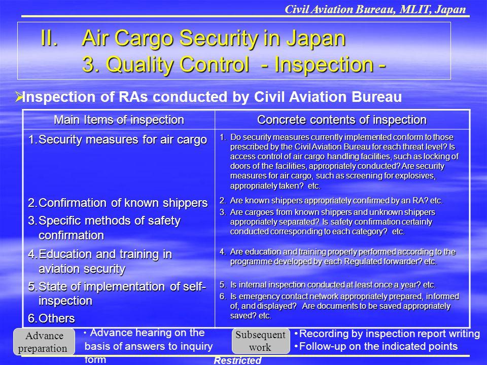 Civil Aviation Bureau, MLIT, Japan Main Items of inspection Concrete contents of inspection 1.Security measures for air cargo 1.Do security measures c