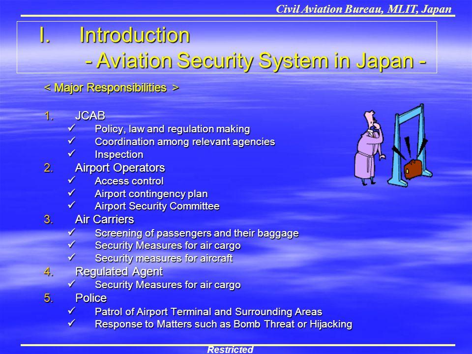 Civil Aviation Bureau, MLIT, Japan 1.JCAB Policy, law and regulation making Policy, law and regulation making Coordination among relevant agencies Coo