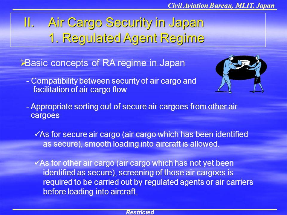 Civil Aviation Bureau, MLIT, Japan II. Air Cargo Security in Japan 1. Regulated Agent Regime II. Air Cargo Security in Japan 1. Regulated Agent Regime