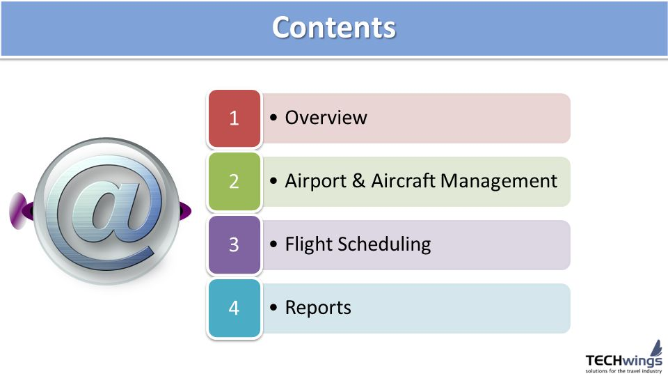 Overview 1 Airport & Aircraft Management 2 Flight Scheduling 3 Reports 4 ContentsContents