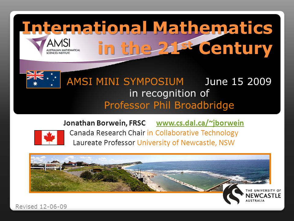 Lets look at the roles mathematics research institutes and their directors play in the fast-moving, slowly-changing world we inhabit as scientists and as humans and try to identify the traits of HEDOMACsAbstract Newcastle AGR - thanks AMS1 !