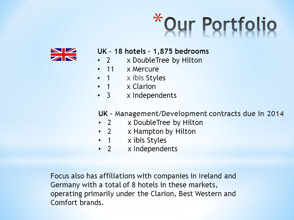 UK – 18 hotels – 1,875 bedrooms 2 x DoubleTree by Hilton 11 x Mercure 1x ibis Styles 1x Clarion 3x Independents Focus also has affiliations with compa