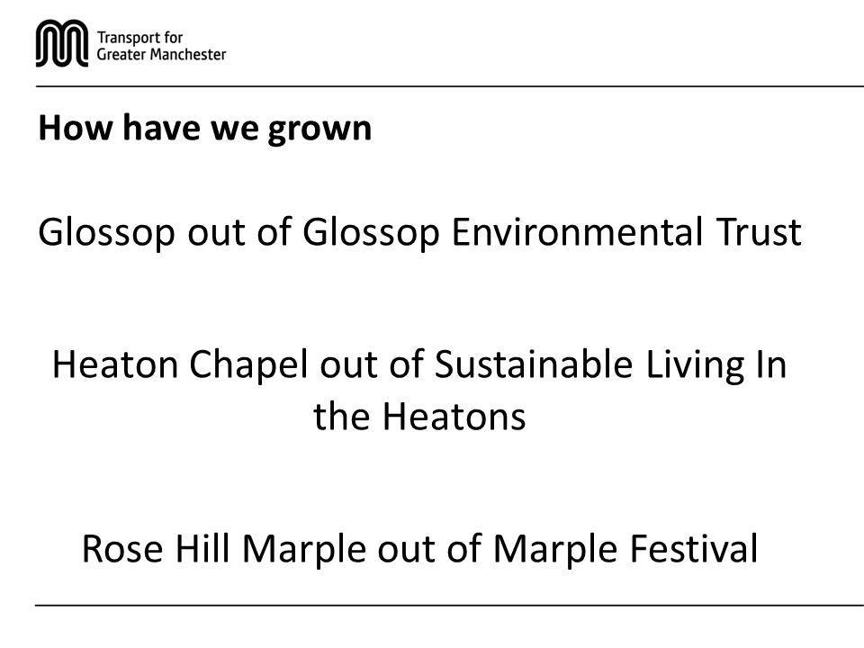 How have we grown Glossop out of Glossop Environmental Trust Heaton Chapel out of Sustainable Living In the Heatons Rose Hill Marple out of Marple Festival