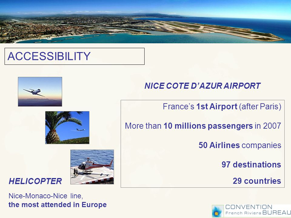 NICE COTE DAZUR AIRPORT Frances 1st Airport (after Paris) More than 10 millions passengers in 2007 50 Airlines companies 97 destinations 29 countries HELICOPTER Nice-Monaco-Nice line, the most attended in Europe ACCESSIBILITY