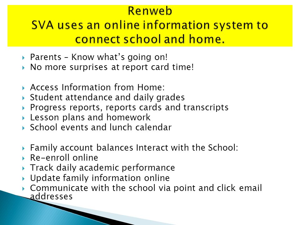 Parents – Know whats going on. No more surprises at report card time.