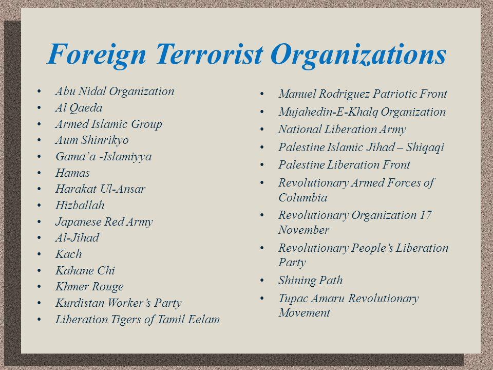 Foreign Terrorist Organizations Abu Nidal Organization Al Qaeda Armed Islamic Group Aum Shinrikyo Gamaa -Islamiyya Hamas Harakat Ul-Ansar Hizballah Ja