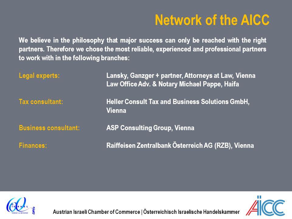 Austrian Israeli Chamber of Commerce | Österreichisch Israelische Handelskammer Network of the AICC We believe in the philosophy that major success ca