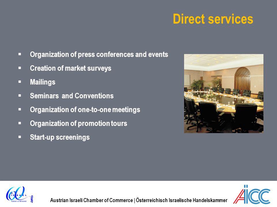 Austrian Israeli Chamber of Commerce | Österreichisch Israelische Handelskammer Direct services Organization of press conferences and events Creation