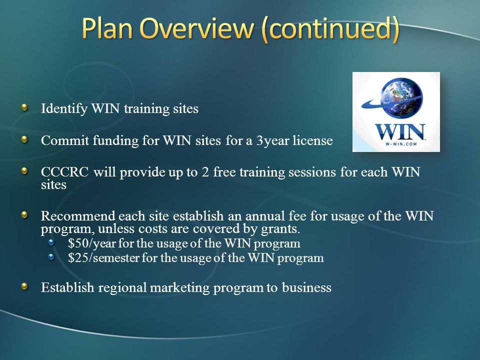 Identify WIN training sites Commit funding for WIN sites for a 3year license CCCRC will provide up to 2 free training sessions for each WIN sites Reco