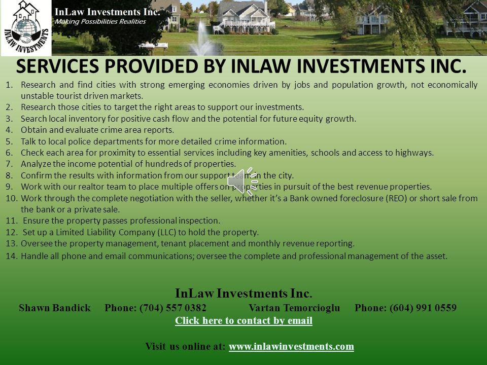 INVESTOR PRESENTATION InLaw Investments Inc. #185 6278 N.