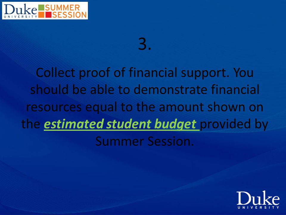 3. Collect proof of financial support.