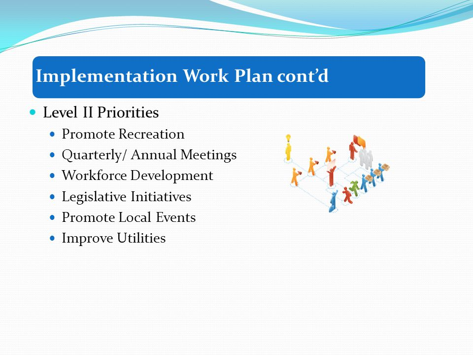 Level II Priorities Promote Recreation Quarterly/ Annual Meetings Workforce Development Legislative Initiatives Promote Local Events Improve Utilities Implementation Work Plan contd