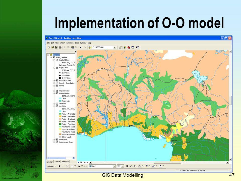 GIS Data Modelling46 Object Land ParcelPolygon Polygon-1Polygon-2Land parcel-1 Object data model (cont.) Land parcel-2Land parcel-3