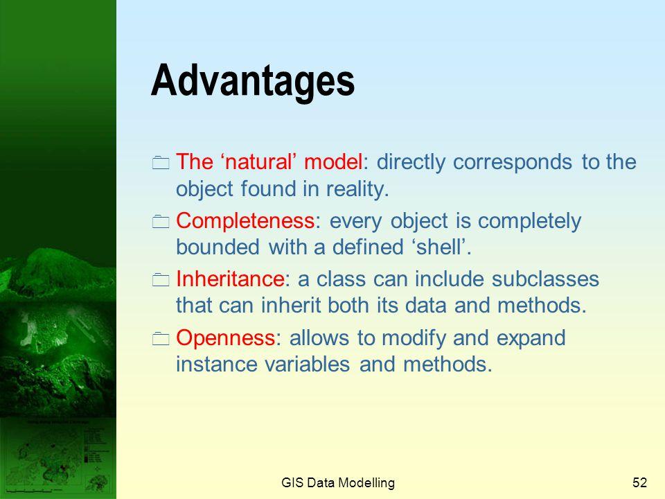 GIS Data Modelling51 Inheritance Simple Road Feature Inheritance Standard feature types Custom feature types Complex Road Feature Road Feature Road ce