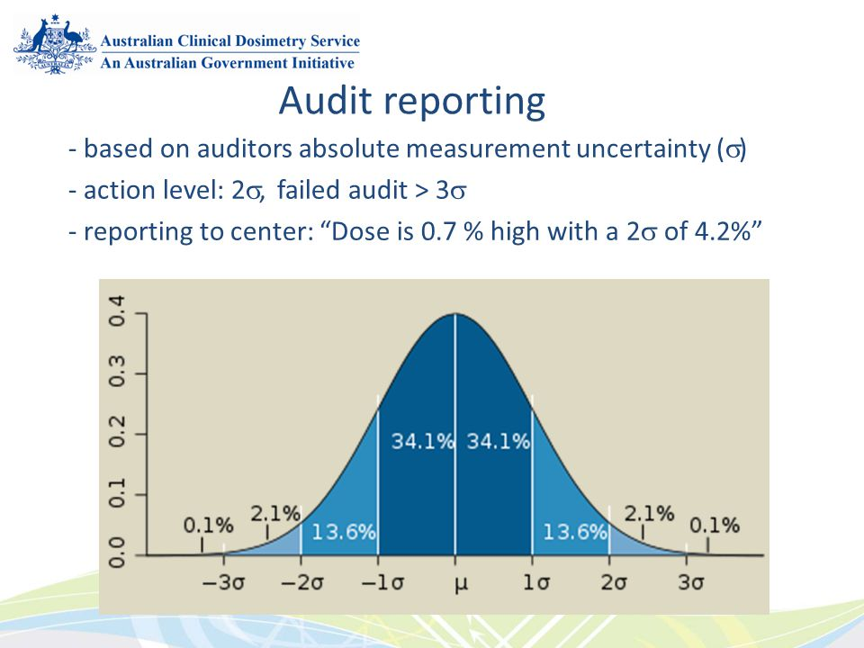 - based on auditors absolute measurement uncertainty ( ) - action level: 2, failed audit > 3 - reporting to center: Dose is 0.7 % high with a 2 of 4.2