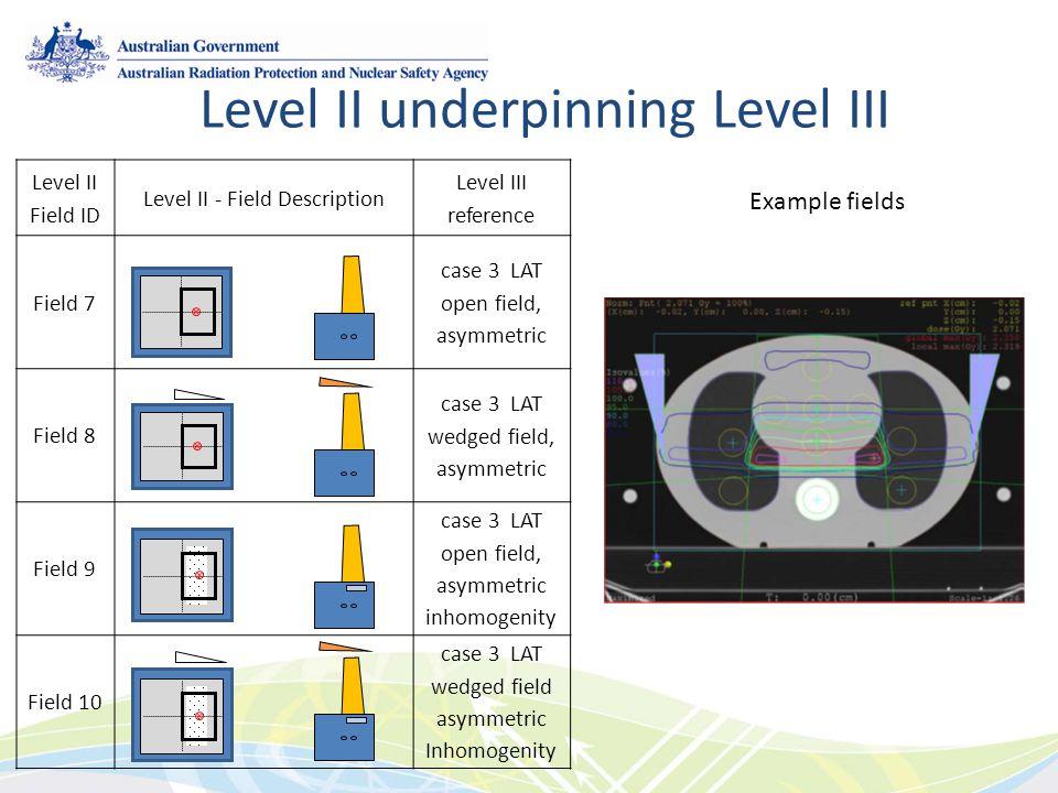 Level II Field ID Level II - Field Description Level III reference Field 7 case 3 LAT open field, asymmetric Field 8 case 3 LAT wedged field, asymmetric Field 9 case 3 LAT open field, asymmetric inhomogenity Field 10 case 3 LAT wedged field asymmetric Inhomogenity Level II underpinning Level III Example fields