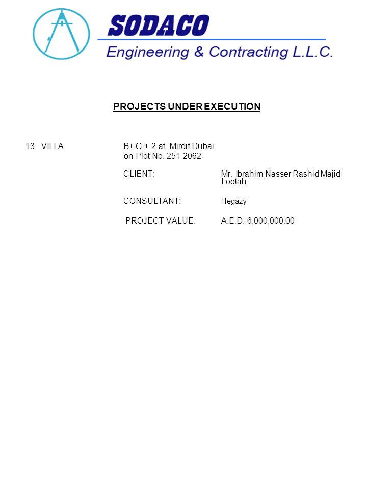 PROJECTS UNDER EXECUTION 13. VILLA B+ G + 2 at Mirdif Dubai on Plot No.