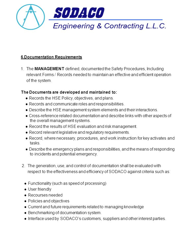 6.Documentation Requirements 1.
