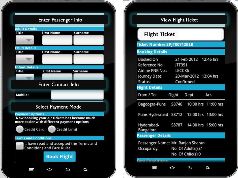 Enter Passenger InfoView Flight Ticket Enter Contact Info Select Payment Mode
