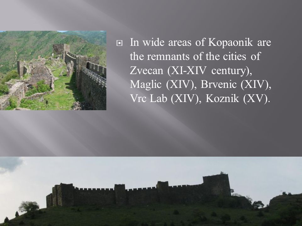 In wide areas of Kopaonik are the remnants of the cities of Zvecan (XI-XIV century), Maglic (XIV), Brvenic (XIV), Vrc Lab (XIV), Koznik (XV).