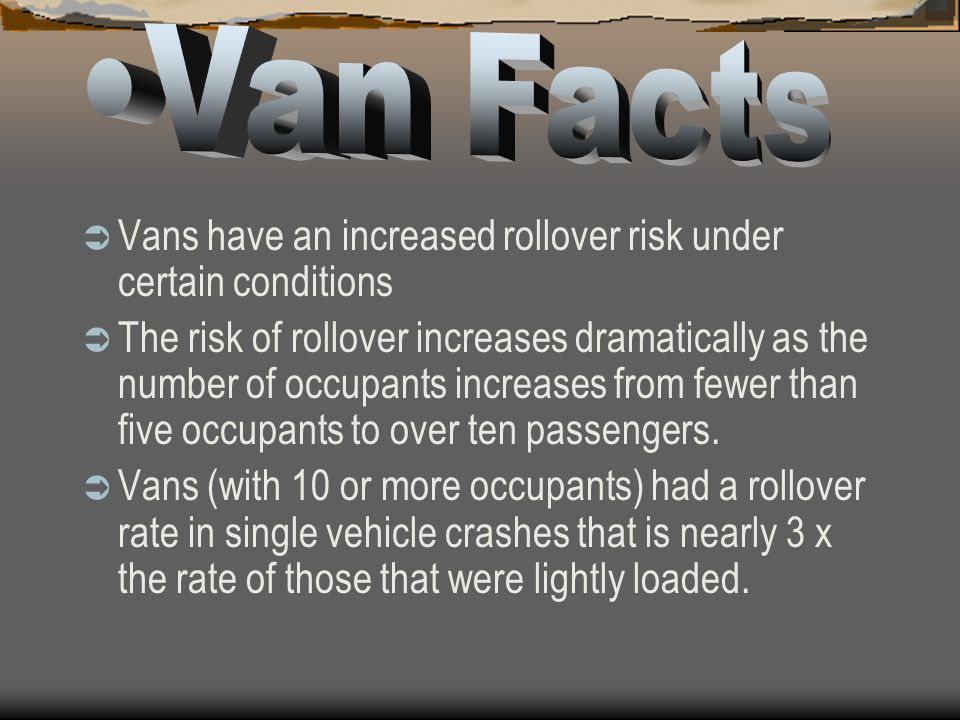 A speed that may be acceptable in a passenger car could be dangerous in a van. You should fill the front seats first. The center of gravity shifts to