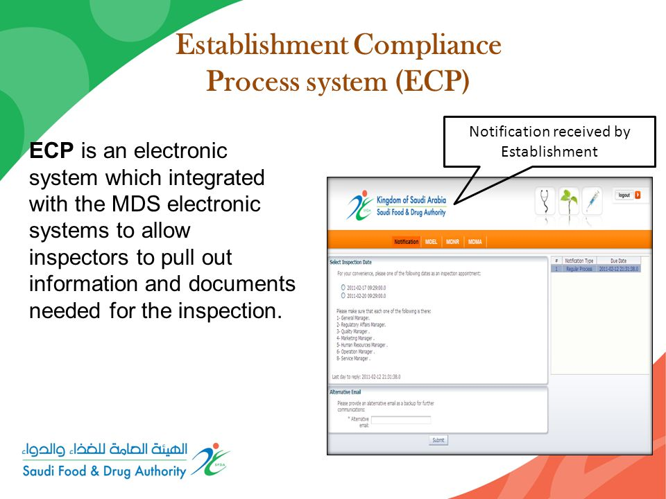 Establishment Compliance Process system (ECP) ECP is an electronic system which integrated with the MDS electronic systems to allow inspectors to pull out information and documents needed for the inspection.