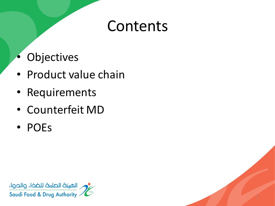 Contents Objectives Product value chain Requirements Counterfeit MD POEs 2