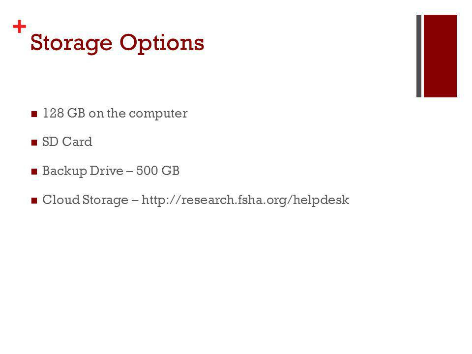 + Storage Options 128 GB on the computer SD Card Backup Drive – 500 GB Cloud Storage – http://research.fsha.org/helpdesk