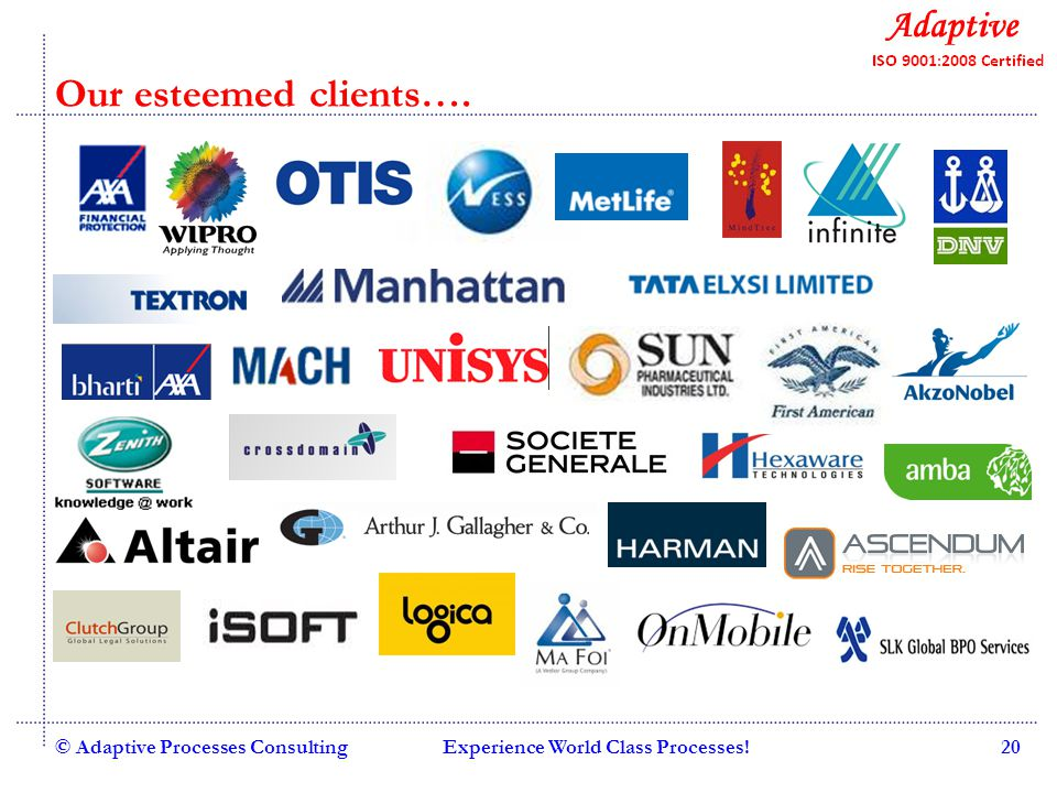 Quality Consulting © Adaptive Processes ConsultingExperience World Class Processes!20 Our esteemed clients….