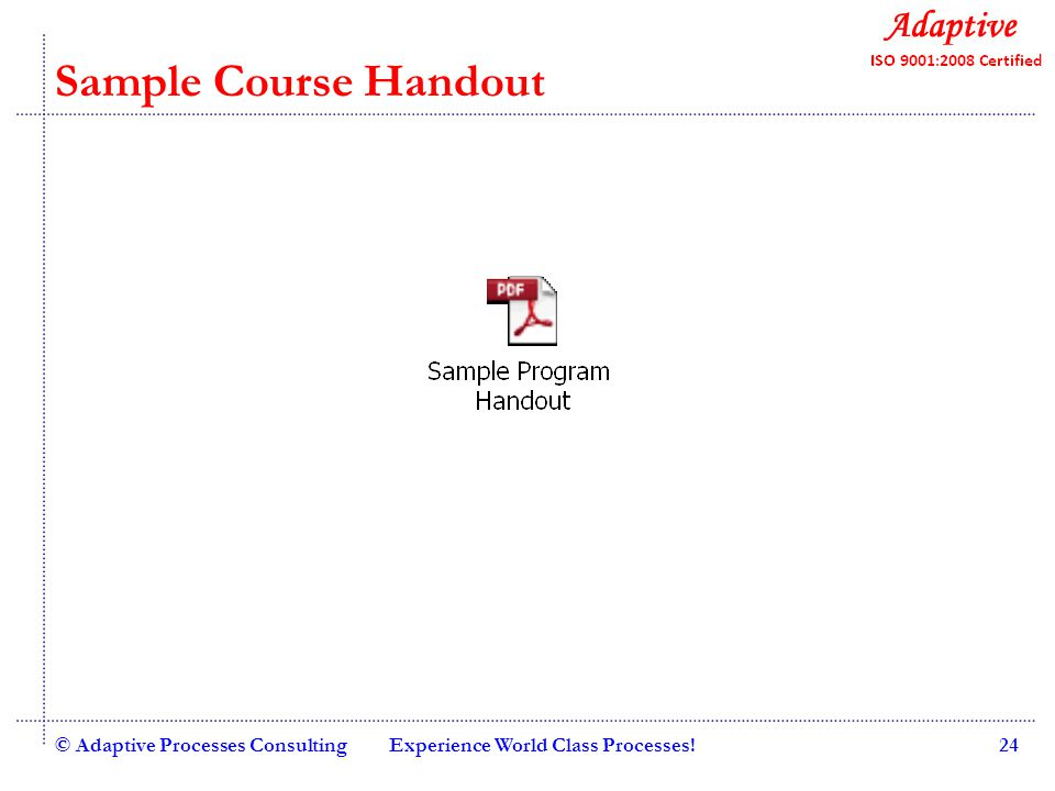 Quality Consulting Sample Course Handout © Adaptive Processes ConsultingExperience World Class Processes!24