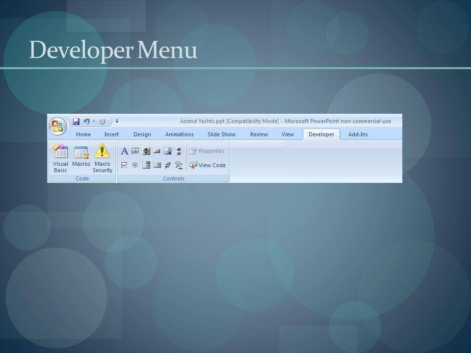 Developer Menu